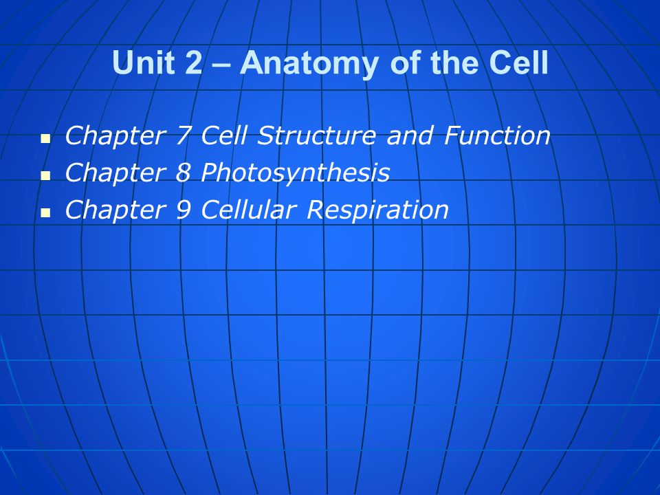 Unit 2 – Anatomy of the Cell