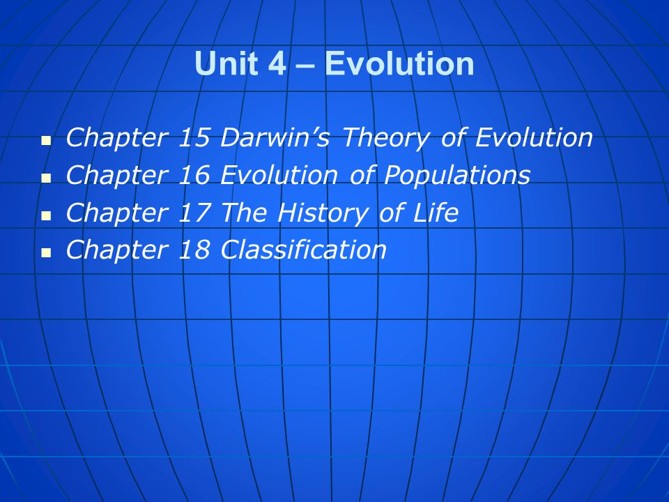 Unit 4 – Evolution Chapter 15 Darwin's Theory of Evolution