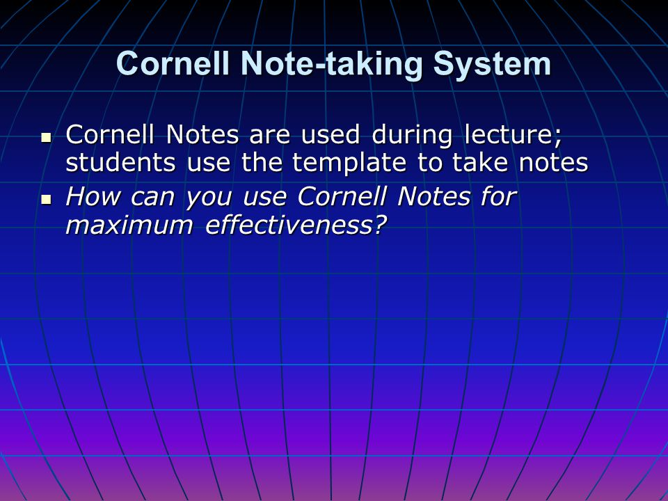 Cornell Note-taking System