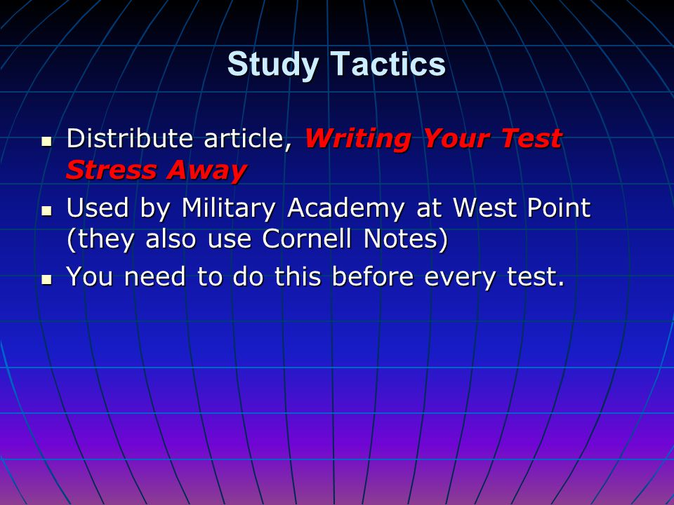 Study Tactics Distribute article, Writing Your Test Stress Away