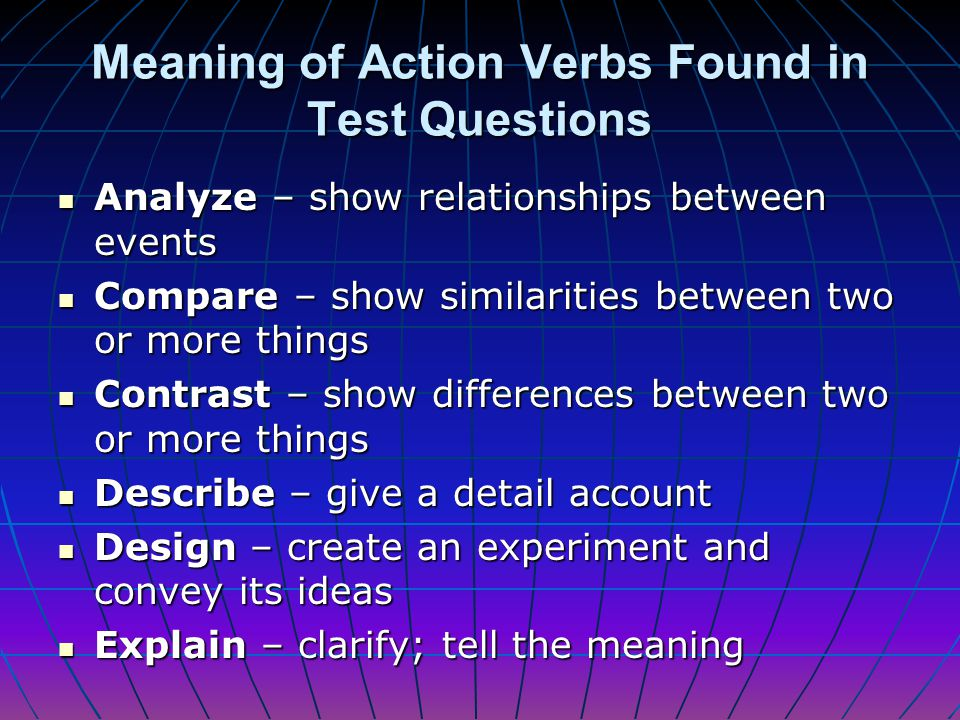 Meaning of Action Verbs Found in Test Questions