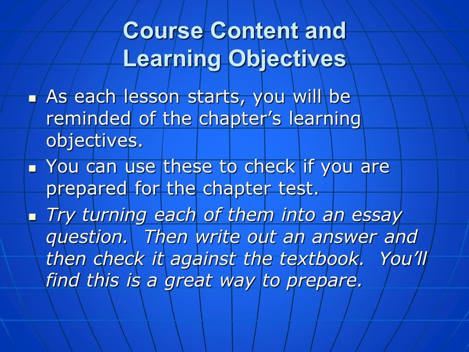Course Content and Learning Objectives