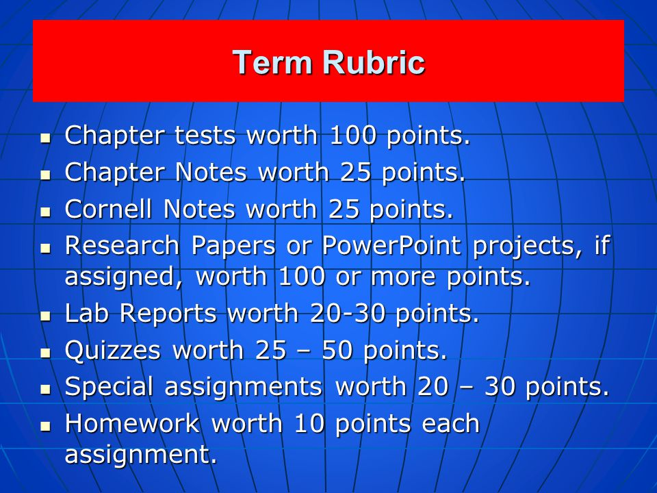 Term Rubric Chapter tests worth 100 points.