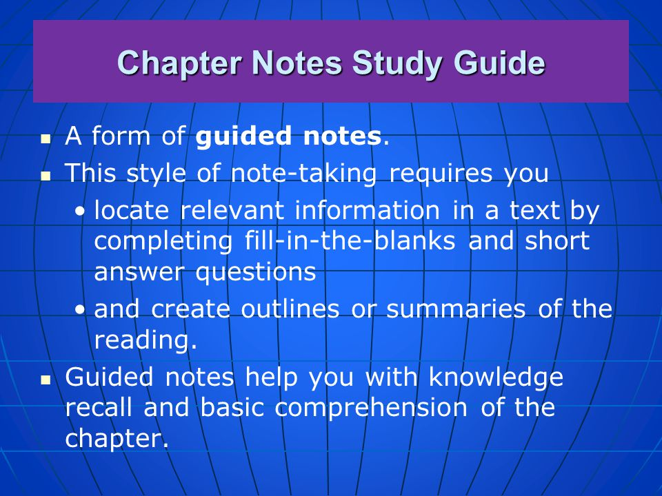 Chapter Notes Study Guide