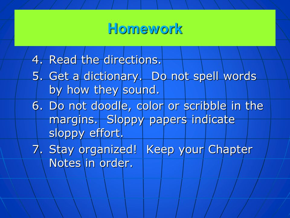 Homework Read the directions.
