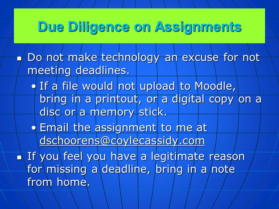 Due Diligence on Assignments