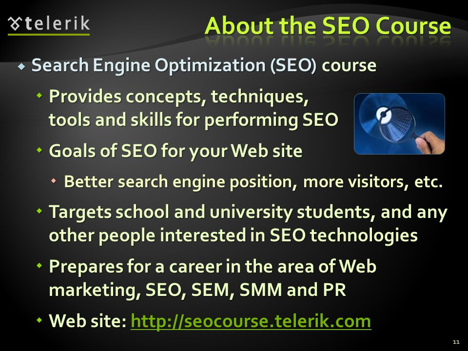 About the SEO Course Search Engine Optimization (SEO) course