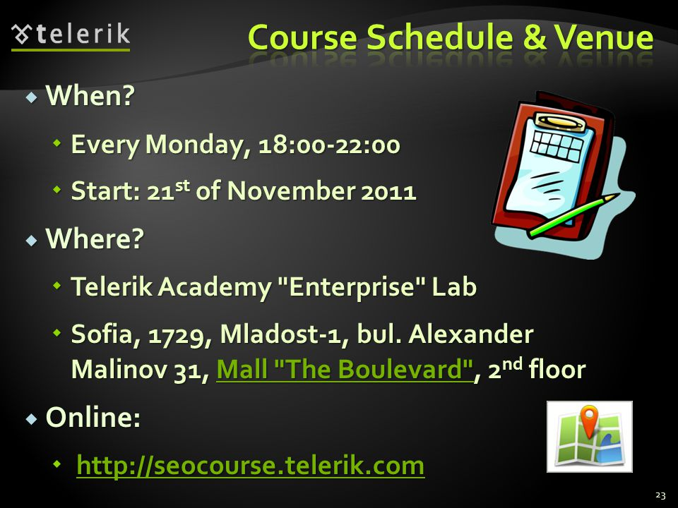 Course Schedule & Venue