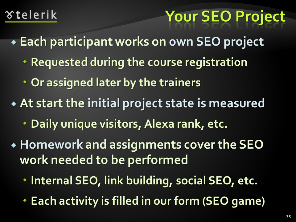 Your SEO Project Each participant works on own SEO project