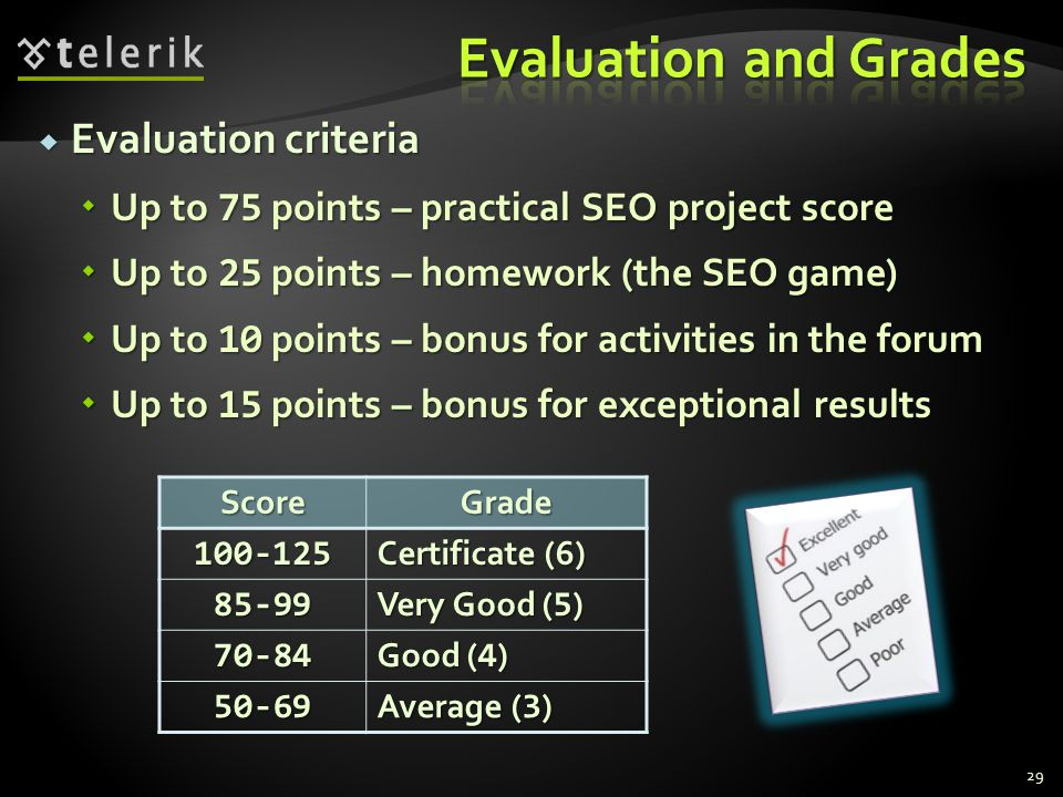 Evaluation and Grades Evaluation criteria
