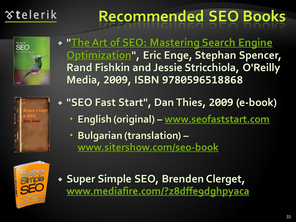 Recommended SEO Books