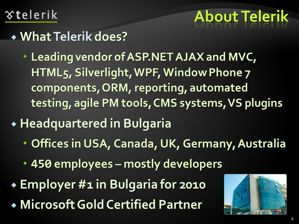 About Telerik What Telerik does Headquartered in Bulgaria