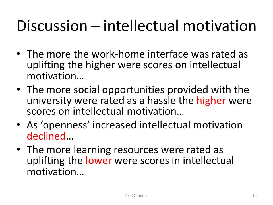 Discussion – intellectual motivation