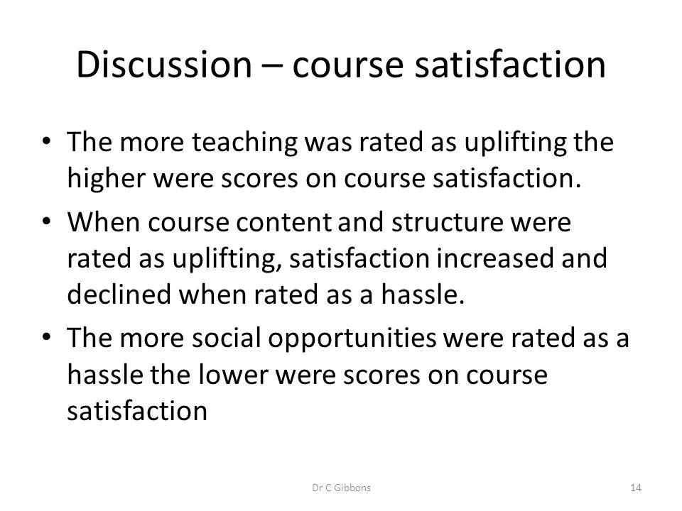 Discussion – course satisfaction