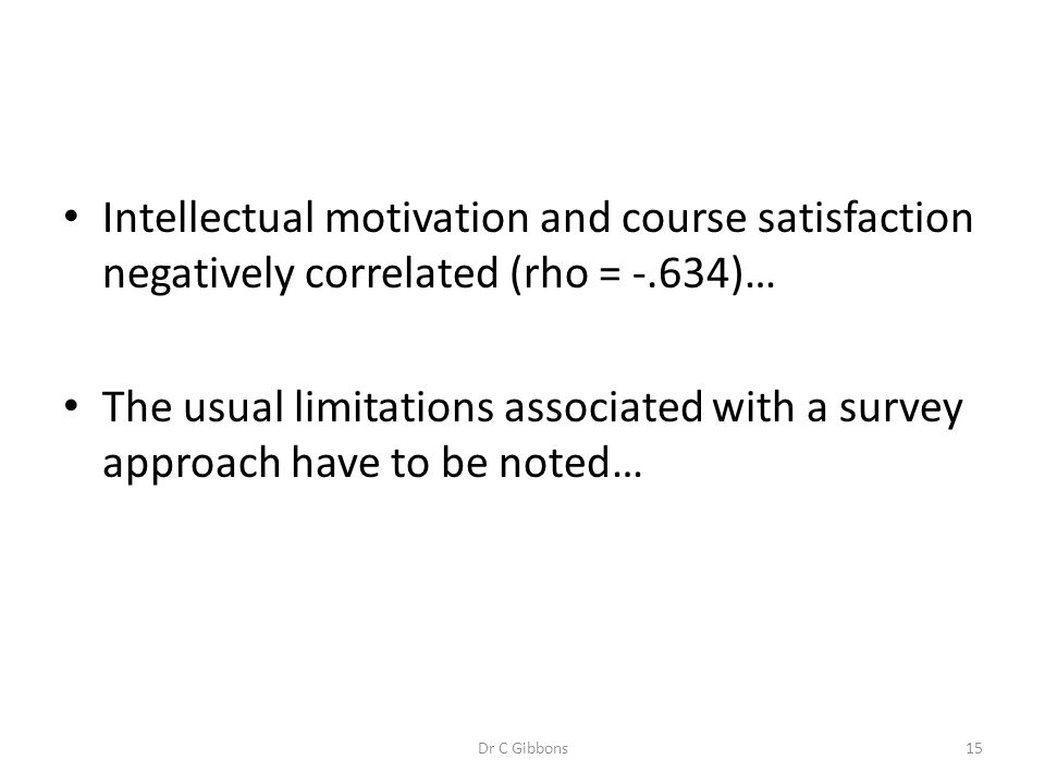 Intellectual motivation and course satisfaction negatively correlated (rho = -.634)…