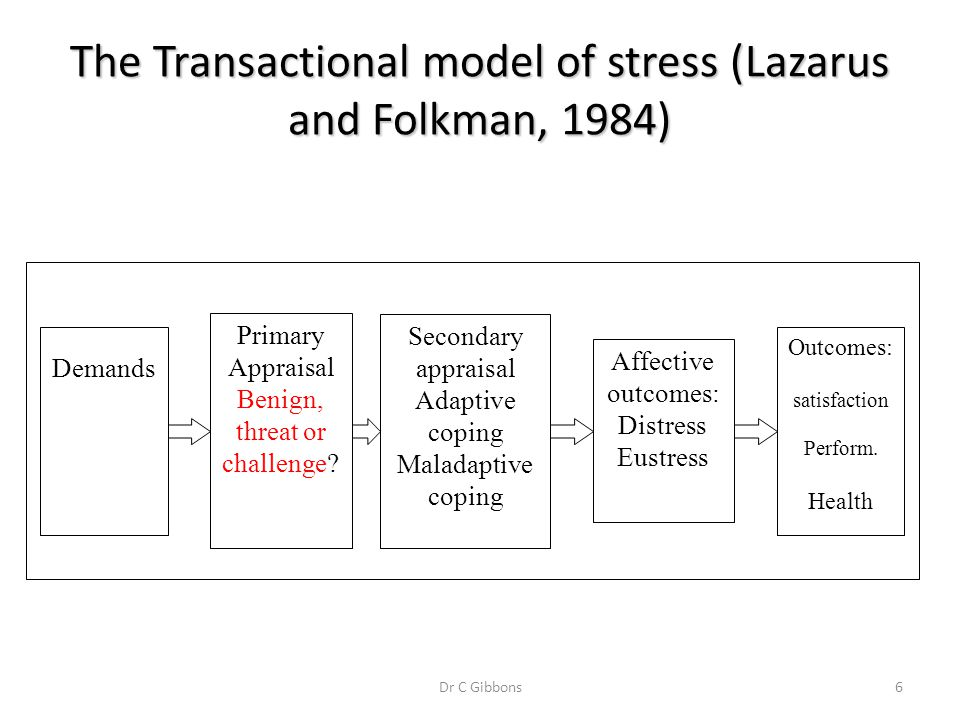 The Transactional model of stress (Lazarus and Folkman, 1984)