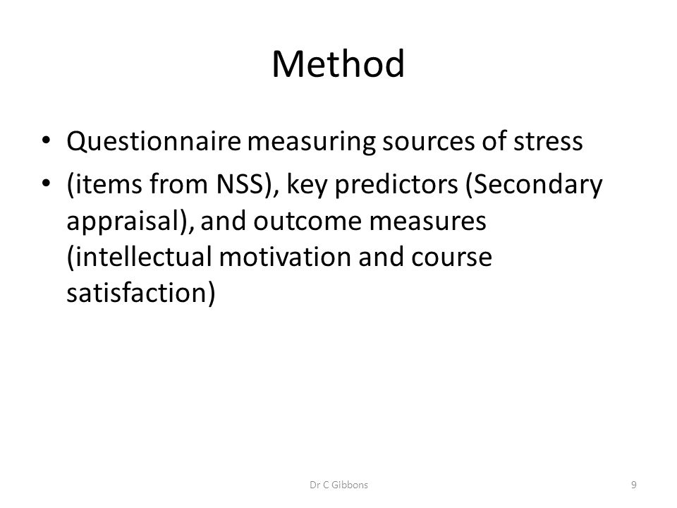 Method Questionnaire measuring sources of stress