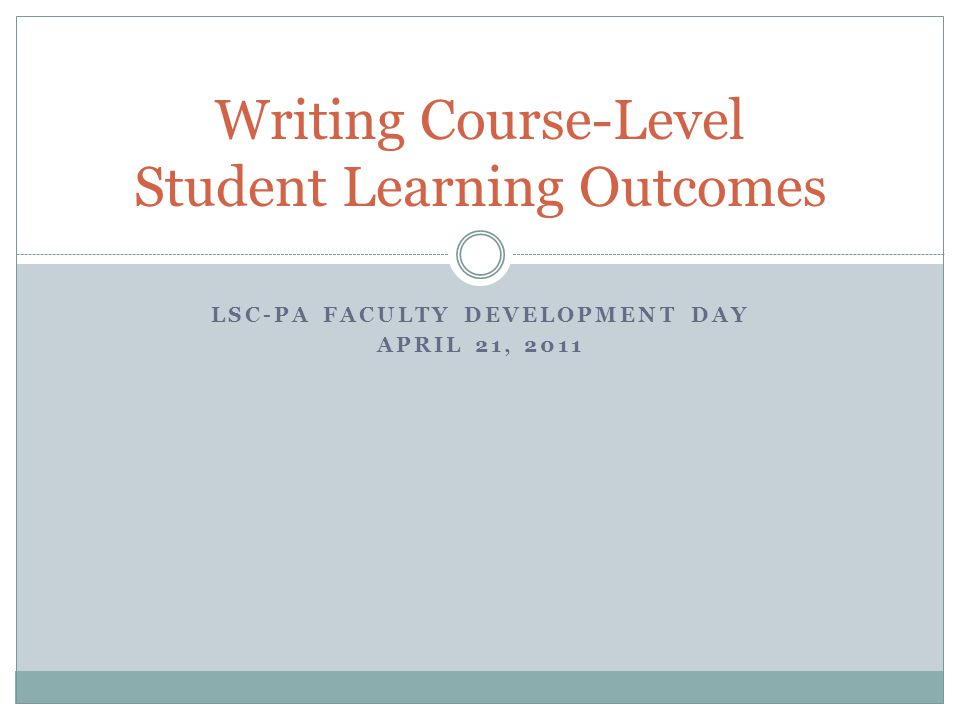 Writing Course-Level Student Learning Outcomes