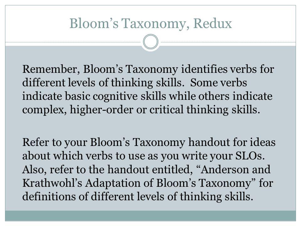 Bloom's Taxonomy, Redux