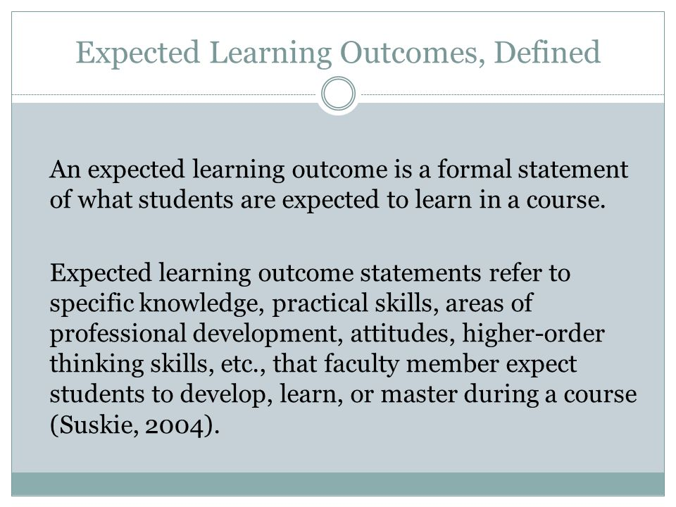 Expected Learning Outcomes, Defined