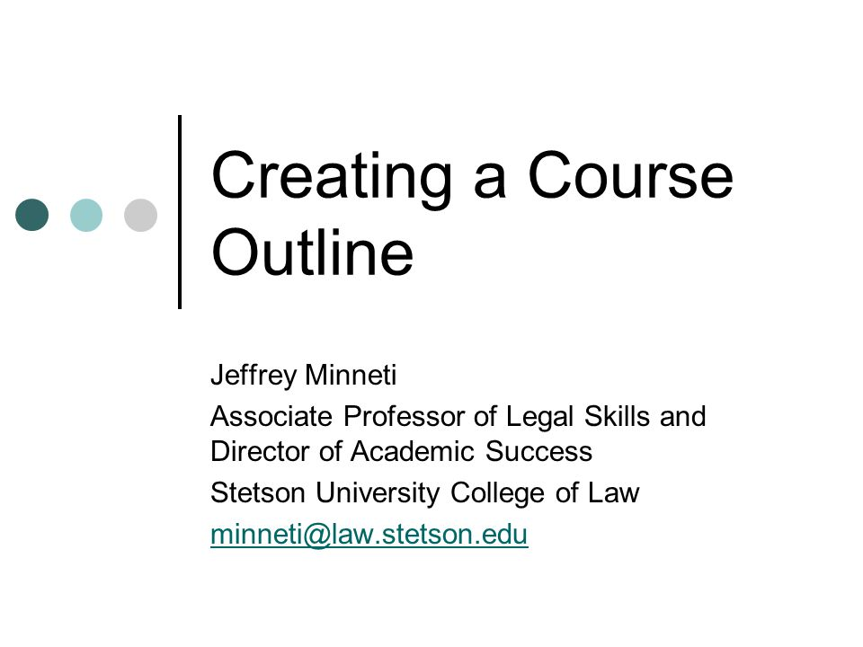Creating a Course Outline