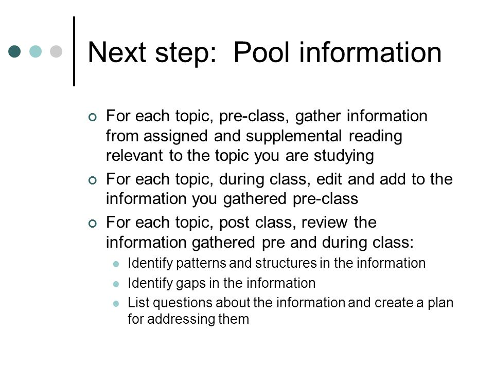 Next step: Pool information