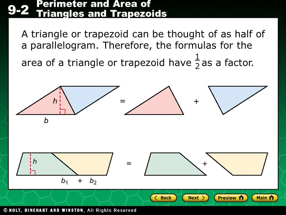 area of a triangle or trapezoid have as a factor.