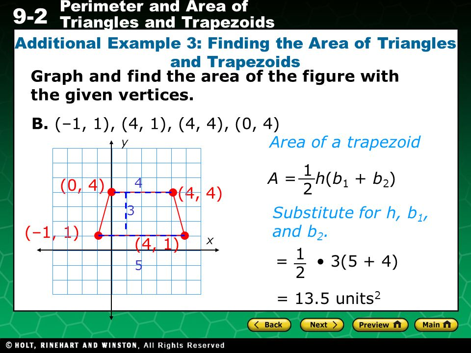 Additional Example 3: Finding the Area of Triangles and Trapezoids