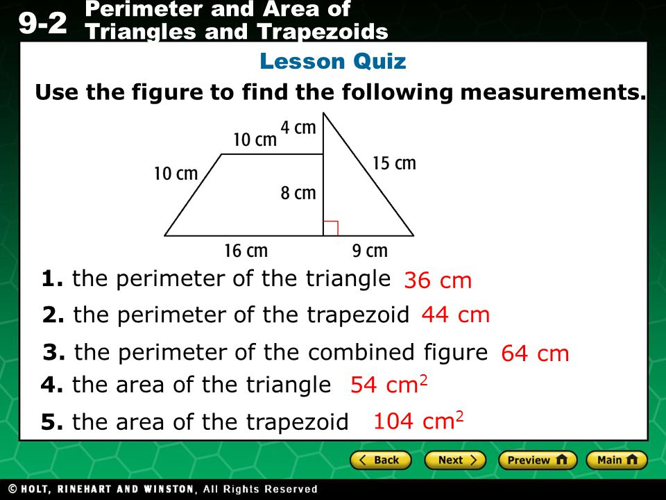 1. the perimeter of the triangle 36 cm