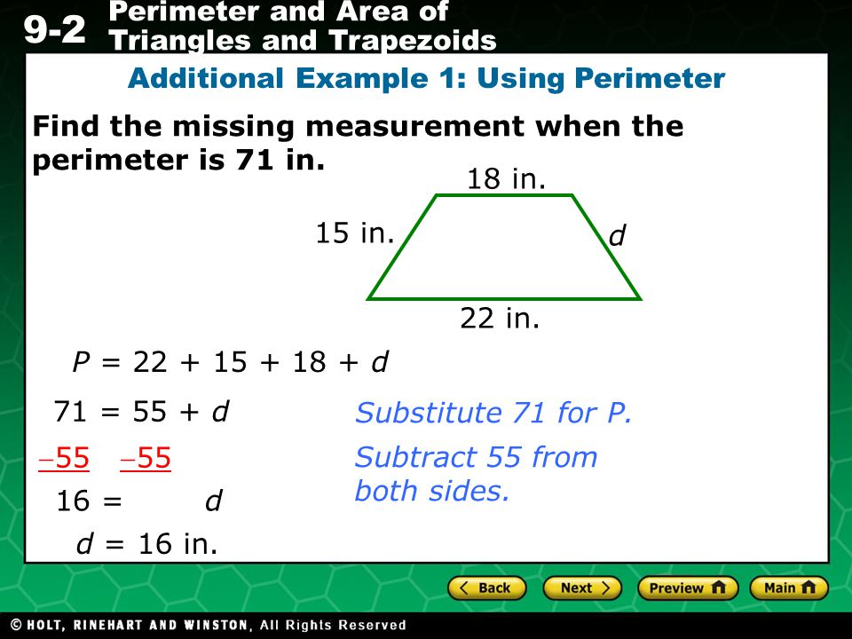 Additional Example 1: Using Perimeter