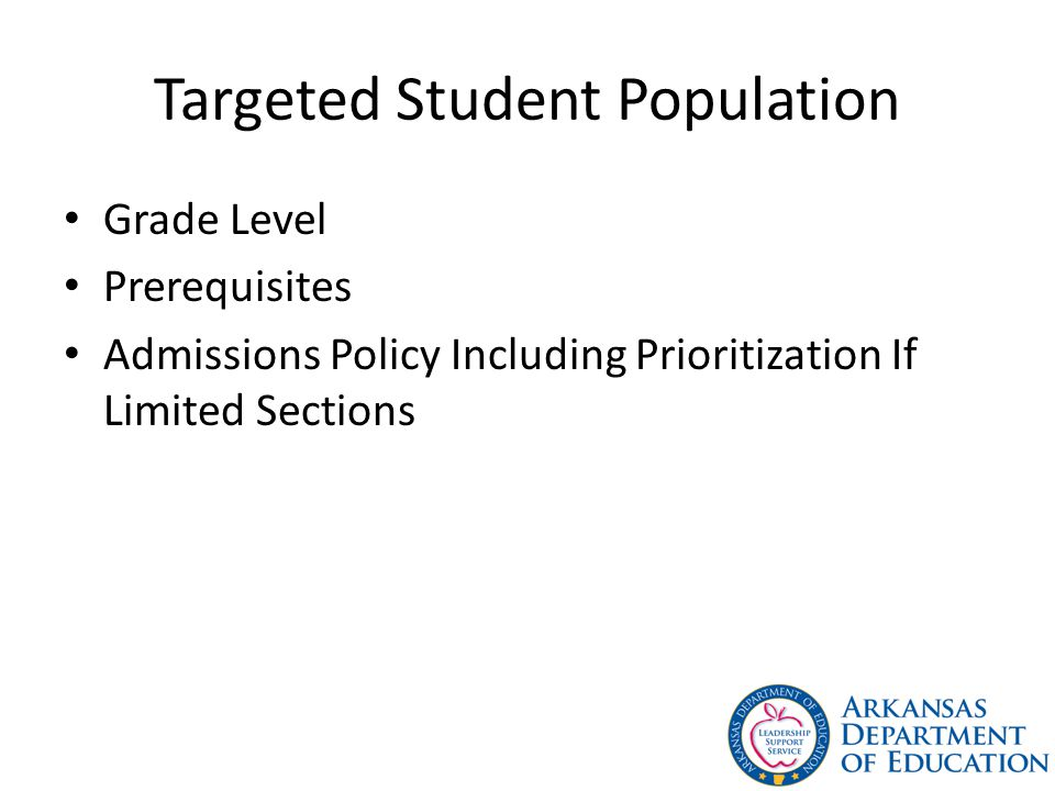 Targeted Student Population