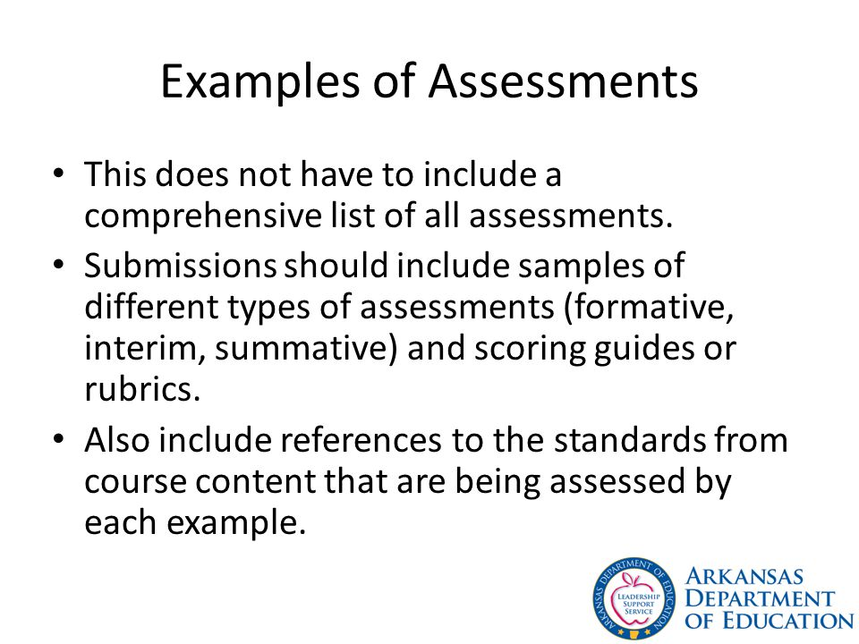 Examples of Assessments