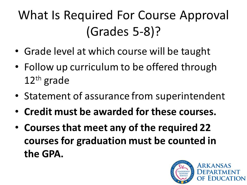 What Is Required For Course Approval (Grades 5-8)