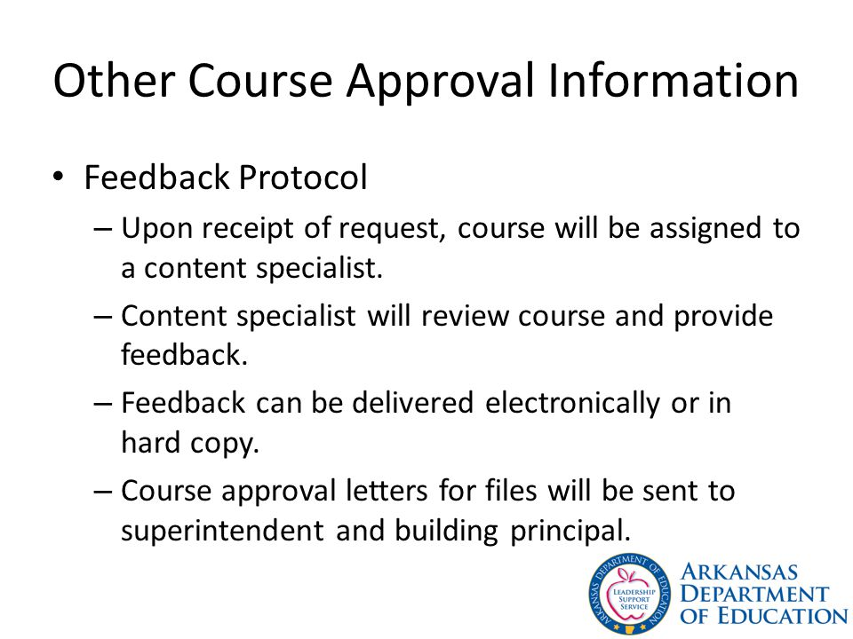 Other Course Approval Information