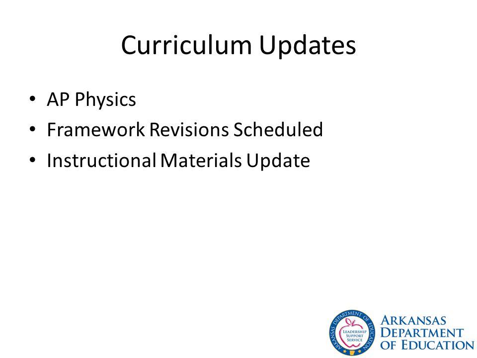 Curriculum Updates AP Physics Framework Revisions Scheduled
