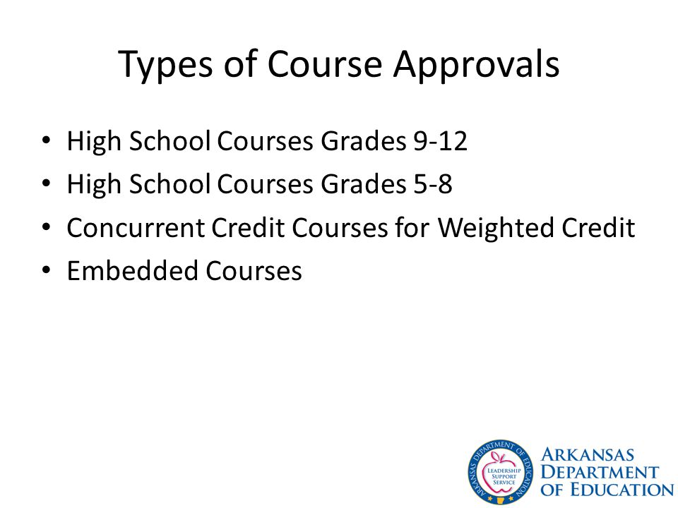 Types of Course Approvals