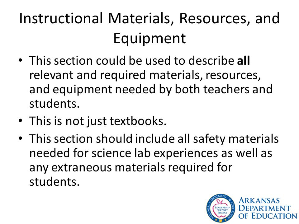 Instructional Materials, Resources, and Equipment