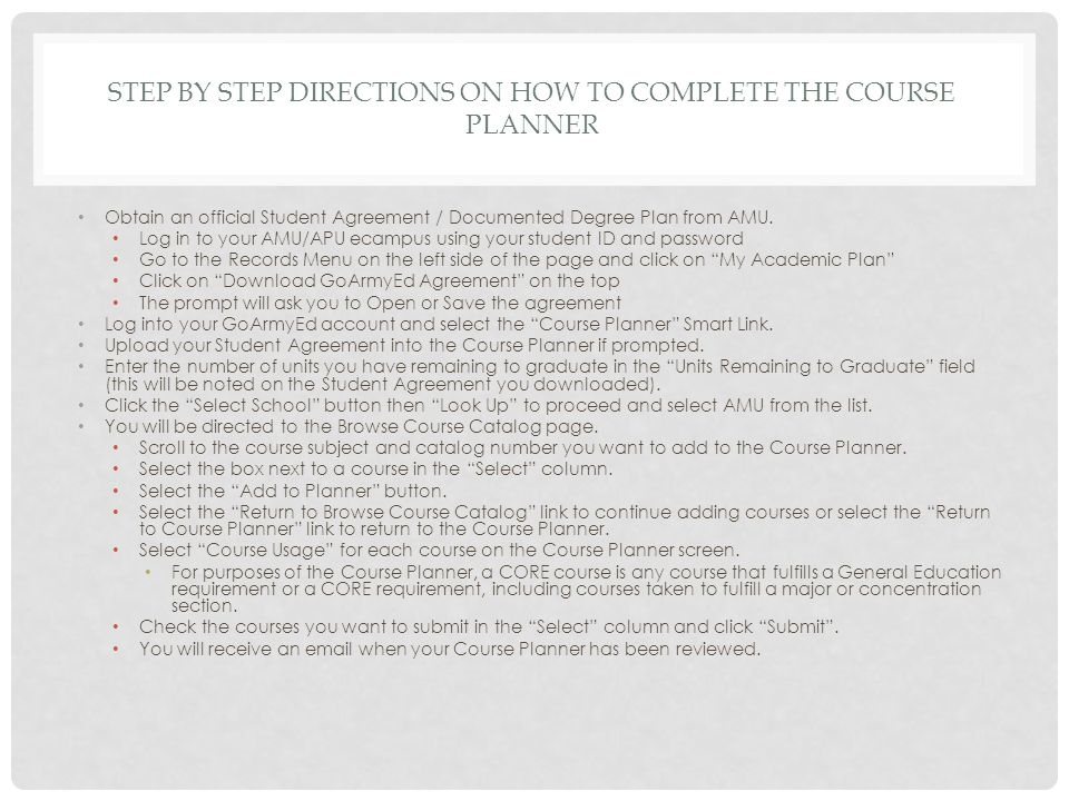 Step by step directions on how to complete the course Planner