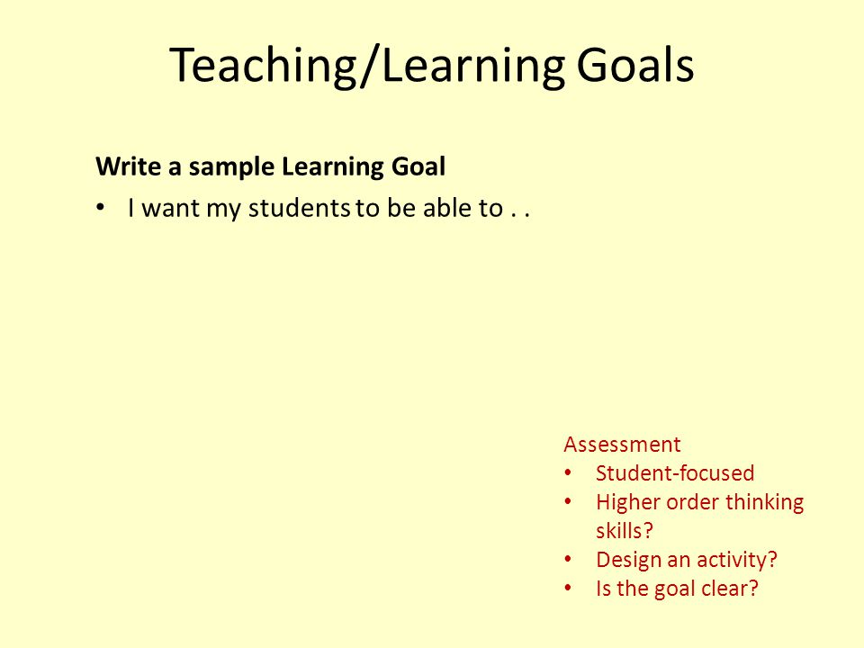 Teaching/Learning Goals