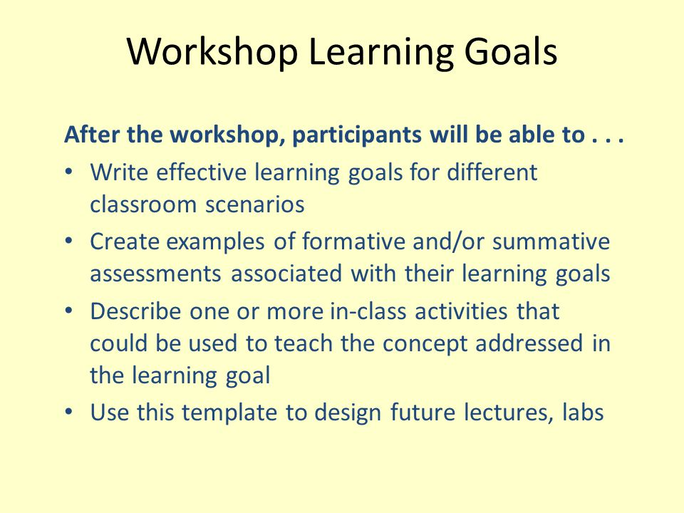 Workshop Learning Goals
