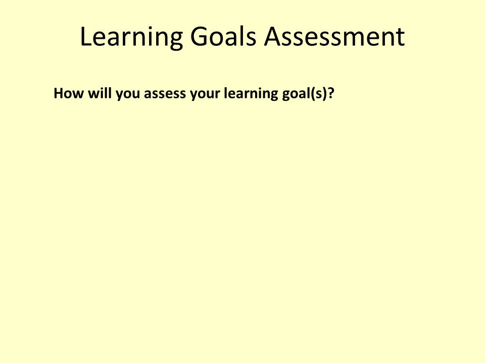 Learning Goals Assessment