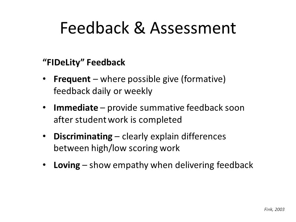 Feedback & Assessment FIDeLity Feedback