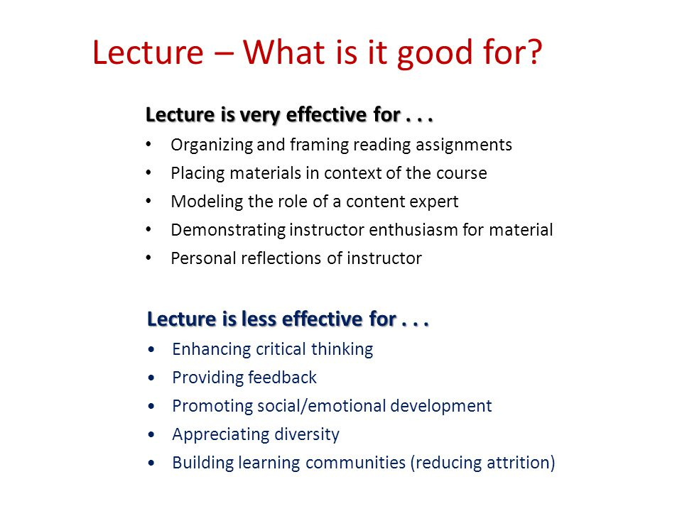 Lecture – What is it good for