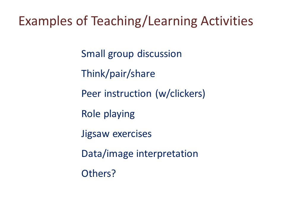Examples of Teaching/Learning Activities