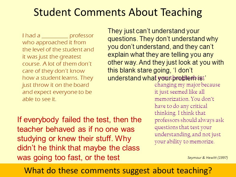 Student Comments About Teaching