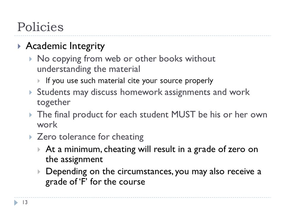 Policies Academic Integrity