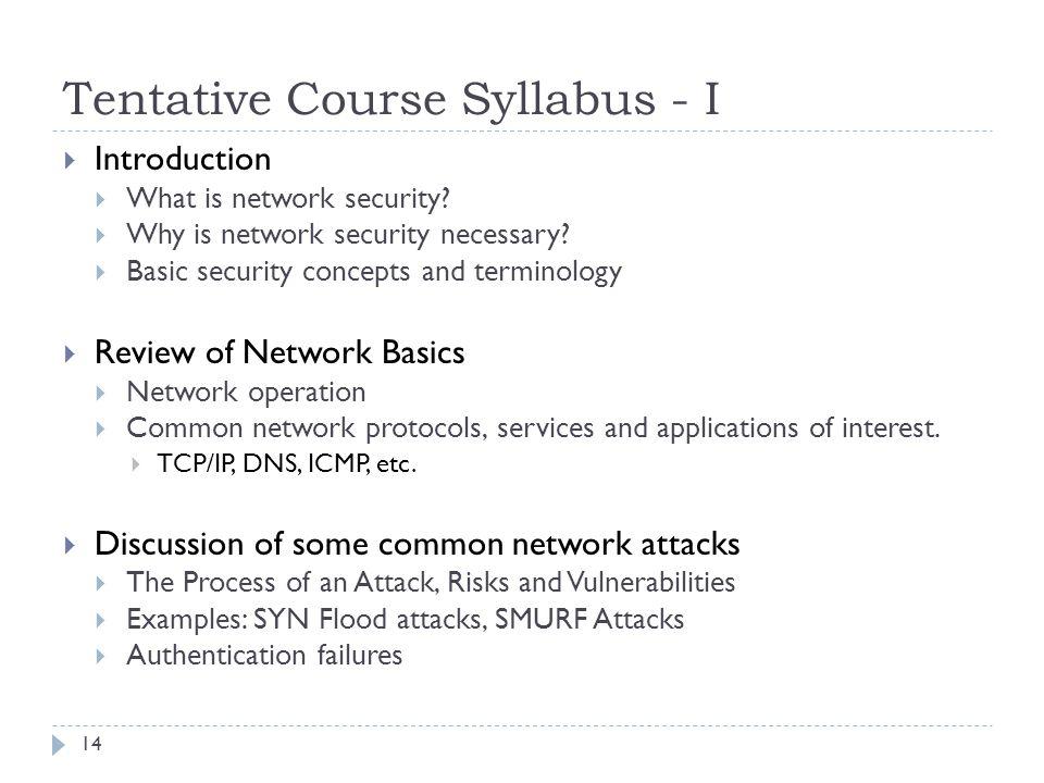 Tentative Course Syllabus - I
