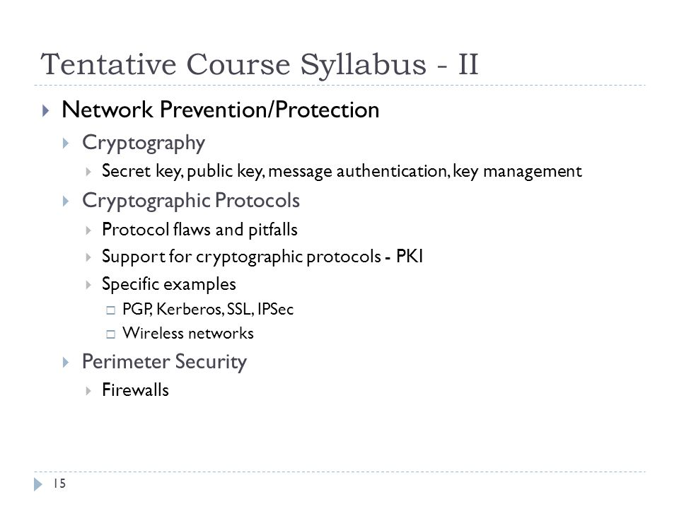 Tentative Course Syllabus - II