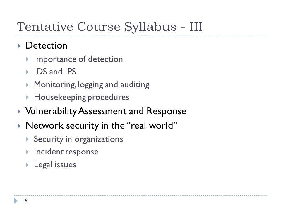 Tentative Course Syllabus - III