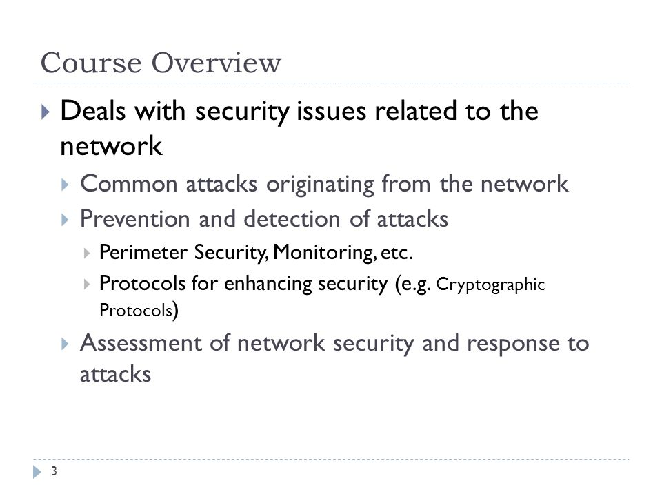 Deals with security issues related to the network